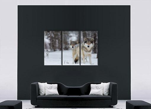 Волки в снежном лесу2