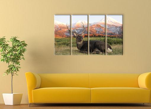 олень на фоне гор