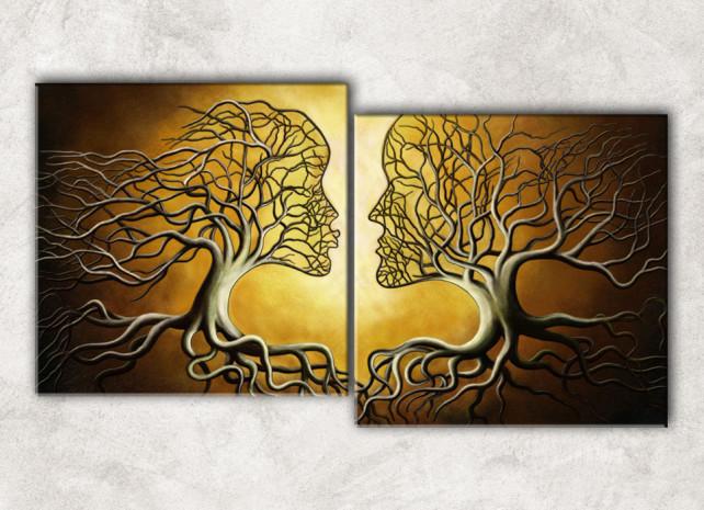 2 дерева с фоном