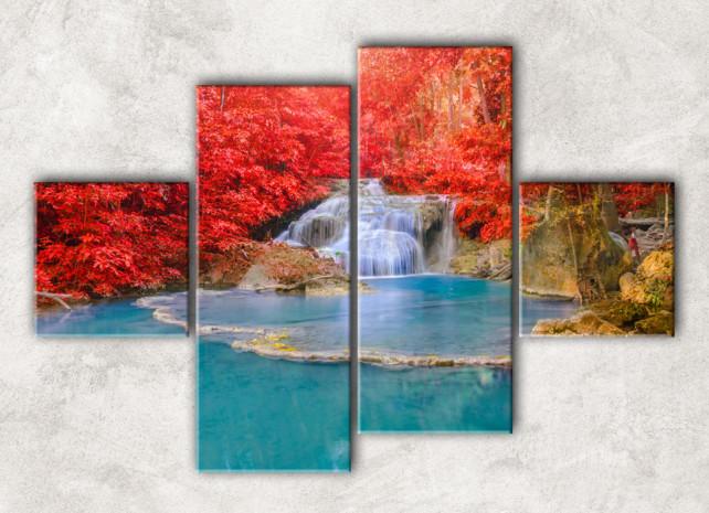 модульная картина красная листва