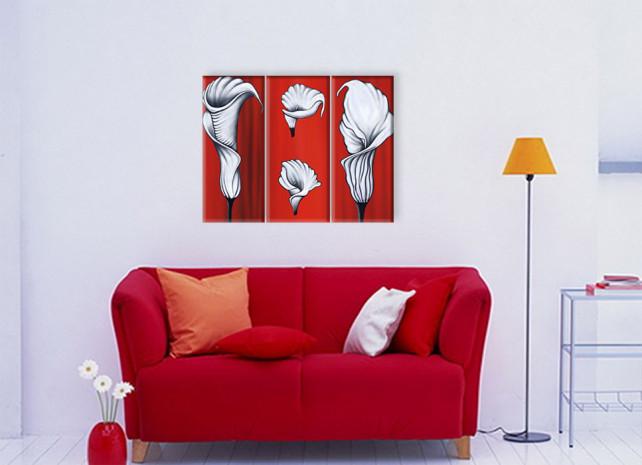 белые каллы на красном 2