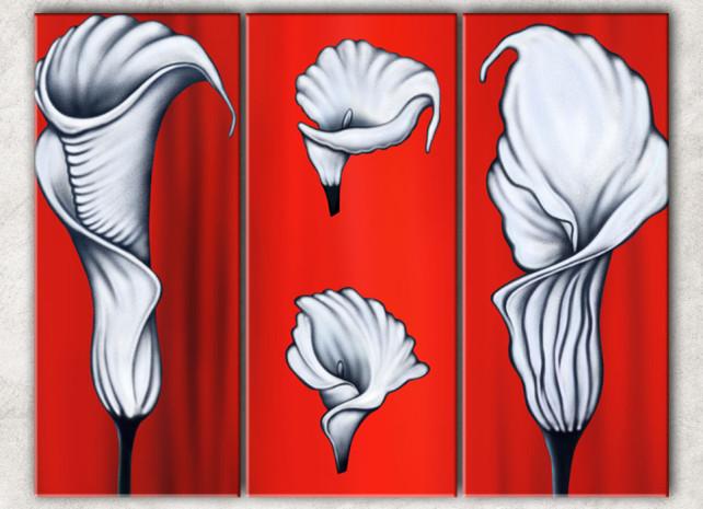 белые каллы на красном с фоном