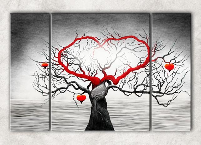дерево сердце с фоном