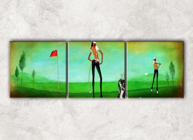 гольфистки с фоном