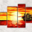 корабль в закате с фоном