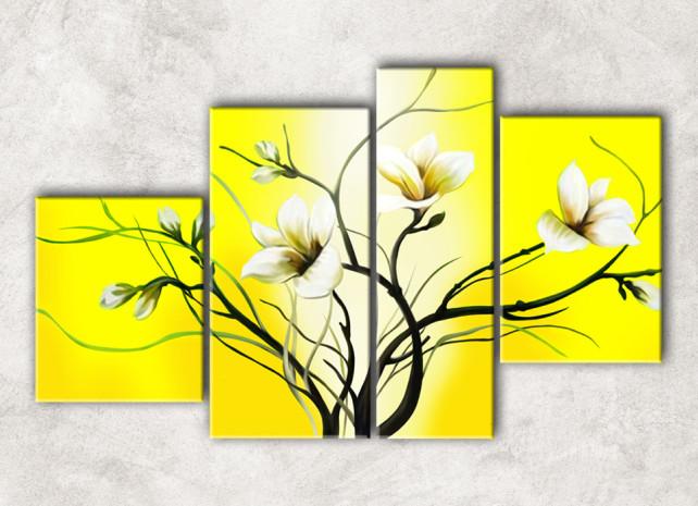 лилии на жёлтом с фоном
