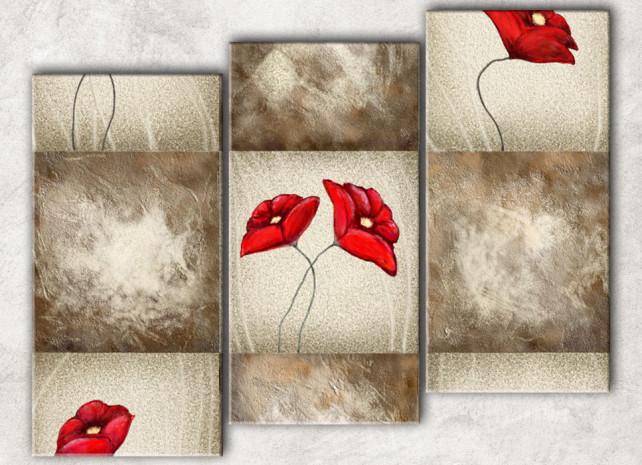 маки на плитке с фоном