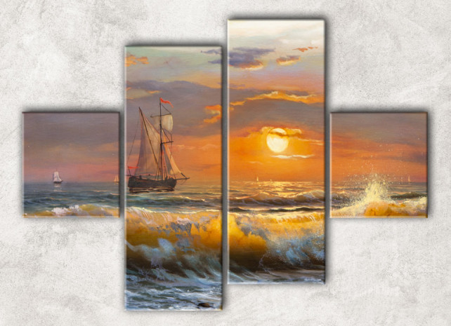 модульная картина бухта на закате