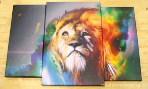 Модульная картина изображением льва