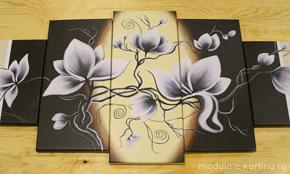 Модульная картина «Белые цветы»