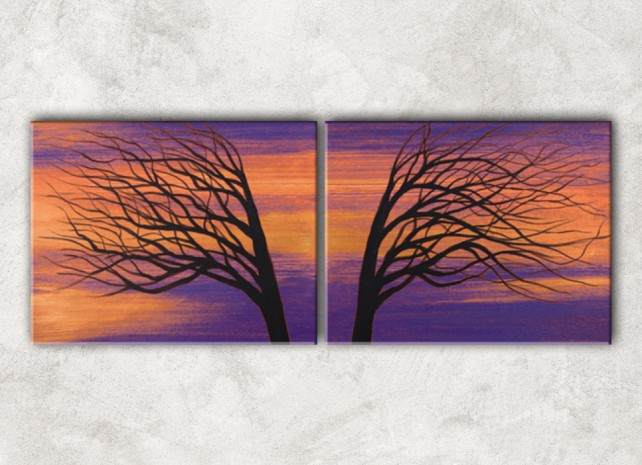 два дерева с фоном