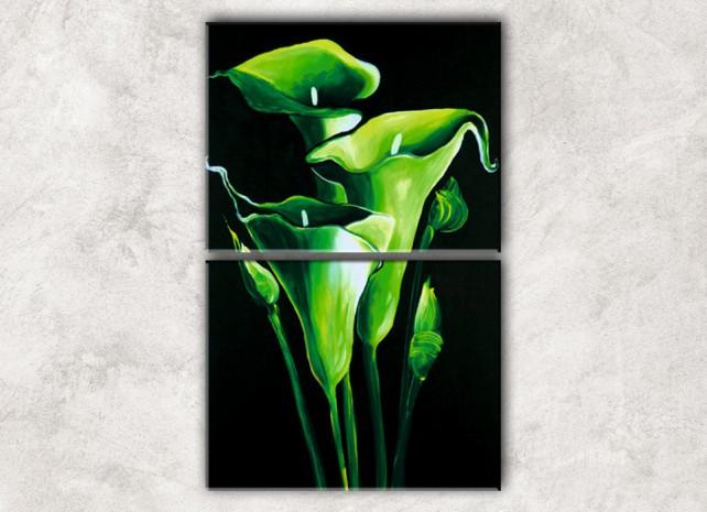 зелёные каллы с фоном