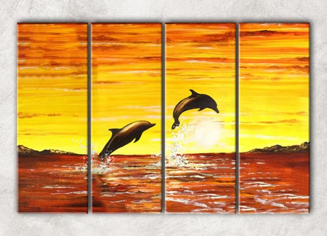 2 дельфина с фоном