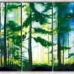 хвойный лес с фоном