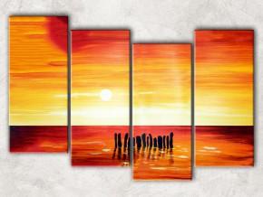 красный закат с фоном