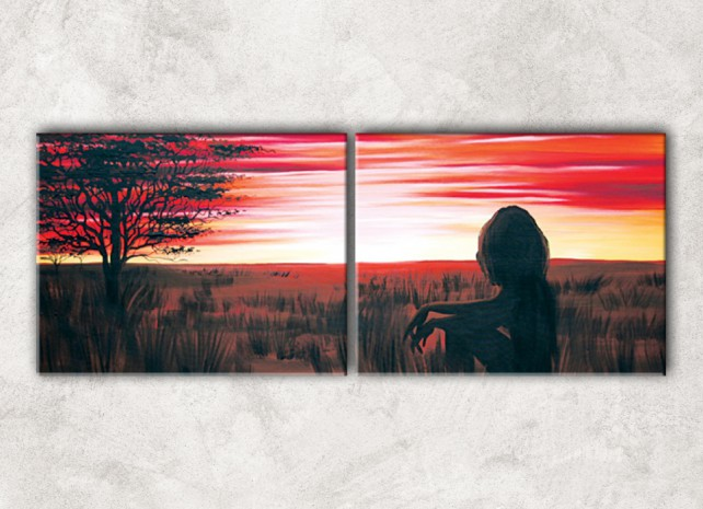 рубиновый закат с фоном