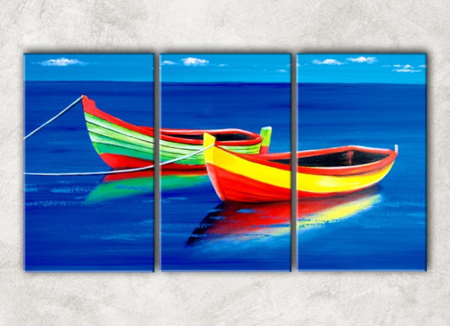 цветные лодки с фоном