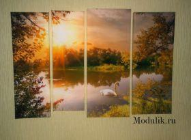 Модульная картина пруд и лебеди